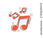 vector cartoon music icon in... | Shutterstock .eps vector #1154633473
