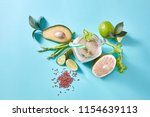 homemade green smoothies with... | Shutterstock . vector #1154639113