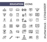 education icons set simple flat ... | Shutterstock .eps vector #1154644009