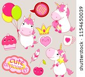 set of cute unicorns in kawaii... | Shutterstock .eps vector #1154650039