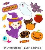 set of cute halloween... | Shutterstock .eps vector #1154650486
