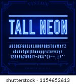 bright neon alphabet letters ... | Shutterstock .eps vector #1154652613