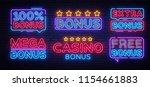 bonus neon text collection... | Shutterstock .eps vector #1154661883