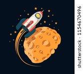 rocket in space orbits  planet... | Shutterstock .eps vector #1154670496