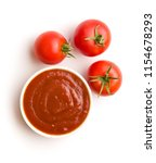 tomatoes and ketchup isolated... | Shutterstock . vector #1154678293