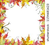 a square frame made of autumn... | Shutterstock . vector #1154681623