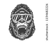 angry gorilla in monochrome... | Shutterstock .eps vector #1154682226