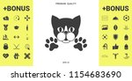 cut cat with paws   logo ... | Shutterstock .eps vector #1154683690