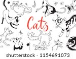 card with playing cats of... | Shutterstock .eps vector #1154691073