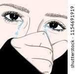 the girl crying sadly in love...   Shutterstock .eps vector #1154691919