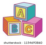 abc cube education game blocks... | Shutterstock .eps vector #1154693860