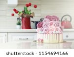 beautiful festive cake biscuit...   Shutterstock . vector #1154694166