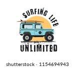 vintage surf emblem with retro...
