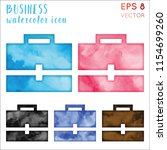 business watercolor icon set.... | Shutterstock .eps vector #1154699260