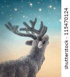 Christmas Deer On Blue...