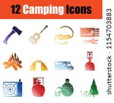 set of camping icons. gradient...