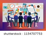 people work in a team and... | Shutterstock .eps vector #1154707753