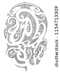 maori tattoo style for sleeve... | Shutterstock .eps vector #1154713309