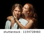 beautiful young couple in love... | Shutterstock . vector #1154728483