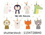 set of cute funny animals with... | Shutterstock .eps vector #1154728840