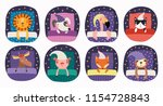 Stock vector set of cute funny sleeping animals in nightcap with pillows blankets isolated objects on white 1154728843