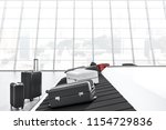 gray  white and pink suitcases... | Shutterstock . vector #1154729836