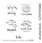 sea food illustrations   hand... | Shutterstock .eps vector #1154735686
