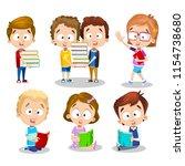 vector cartoon set of children... | Shutterstock .eps vector #1154738680