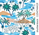 blue lagoon paradise. seamless... | Shutterstock .eps vector #1154744419