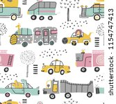 childish seamless pattern with... | Shutterstock .eps vector #1154747413