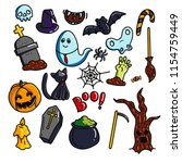 halloween icons set. assorted... | Shutterstock .eps vector #1154759449