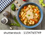 minestrone soup with pasta and...   Shutterstock . vector #1154765749