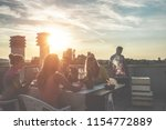 young friends having barbecue... | Shutterstock . vector #1154772889
