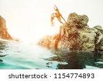 happy crazy friends jumping... | Shutterstock . vector #1154774893