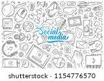 hand drawn social media set... | Shutterstock .eps vector #1154776570
