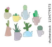 cactuses in cups and tea pots.... | Shutterstock .eps vector #1154779573