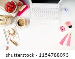 flat lay workspace with laptop  ... | Shutterstock . vector #1154788093