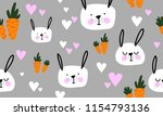 seamless pattern with carrots... | Shutterstock .eps vector #1154793136