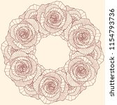 round frame on linear rose... | Shutterstock .eps vector #1154793736