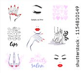 vector set beauty logo  woman's ... | Shutterstock .eps vector #1154810149