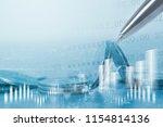 double exposure of city  coins  ... | Shutterstock . vector #1154814136