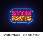Myths Facts Neon Text Vector....