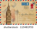 vintage postcard with big ben | Shutterstock .eps vector #115481953
