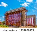 steel scaffolding in a bridge... | Shutterstock . vector #1154820979