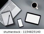 mockup with laptop phone and... | Shutterstock . vector #1154825140