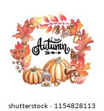 the autumn aquarelle wreath for ... | Shutterstock . vector #1154828113