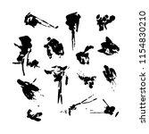 black vector spots and blots on ... | Shutterstock .eps vector #1154830210