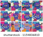 set with colorful music... | Shutterstock .eps vector #1154836810