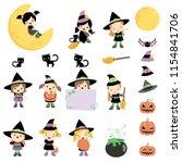 cute little girls dressed as... | Shutterstock .eps vector #1154841706