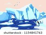 beautiful arctic or antarctic... | Shutterstock .eps vector #1154841763